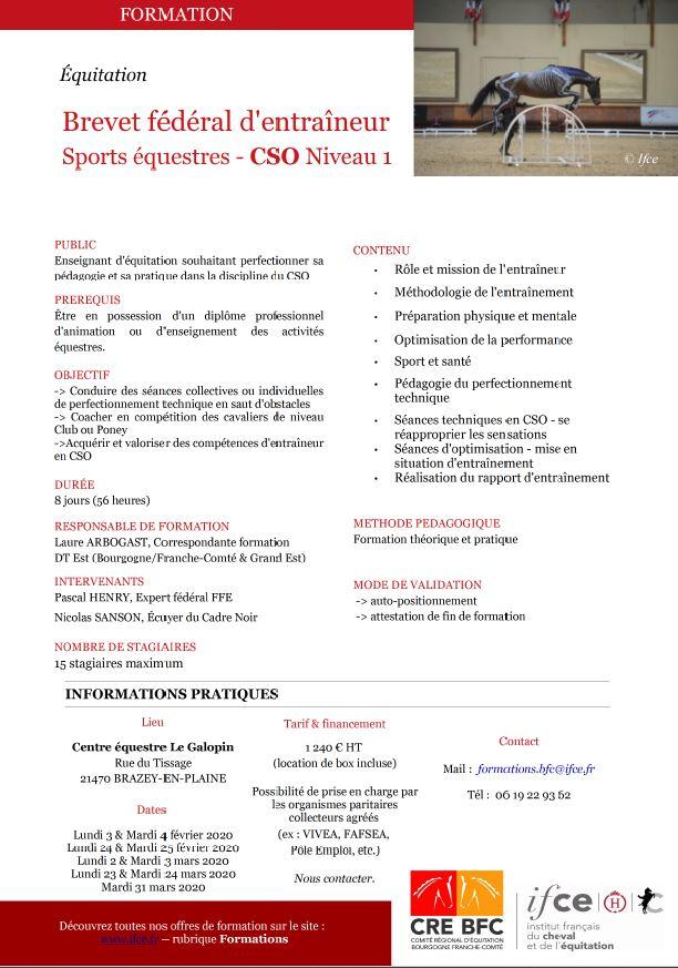 Brevet Fédéral d'Entraîneur Sport Equestres - CSO NIVEAU 1