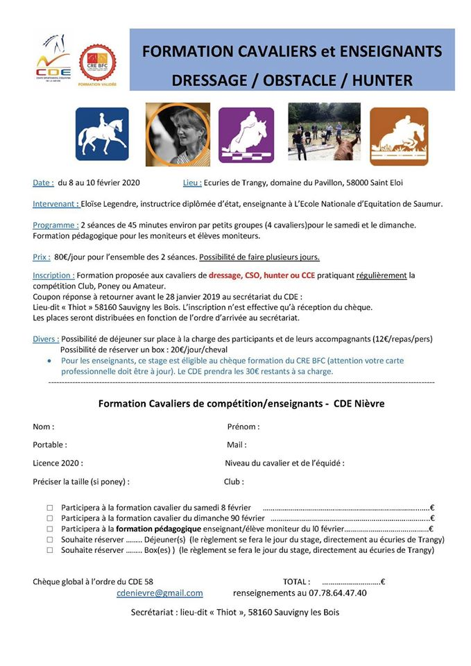 FORMATION CAVALIERS ENSEIGNANTS : Dressage - Obstacle et Hunter (58)