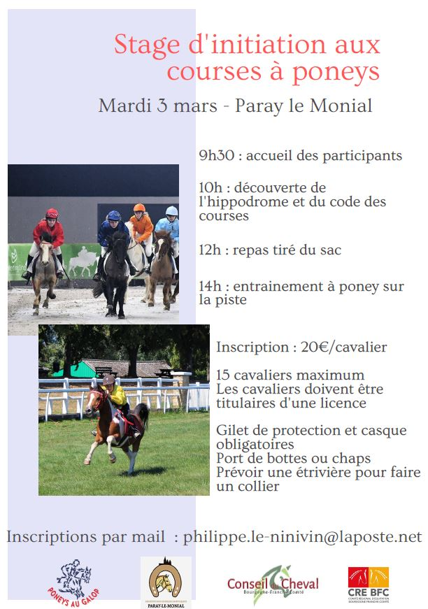 Stage d'initiation aux courses de poneys