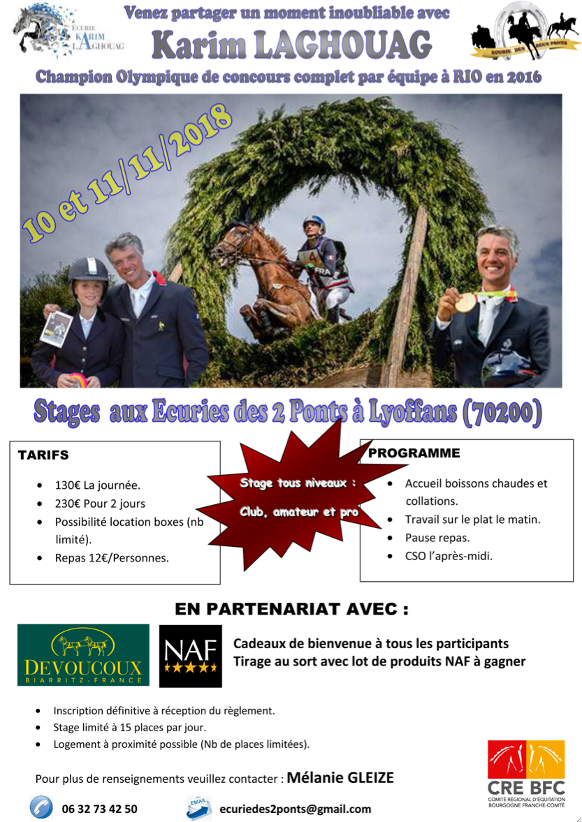 STAGE AVEC KARIM LAGHOUAG - Ecuries des 2 Ponts à Lyoffans (70200)